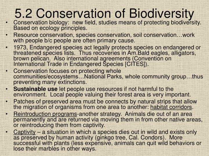 5.2 Conservation of Biodiversity