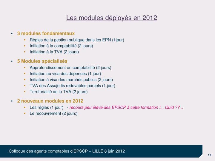 Les modules déployés en 2012