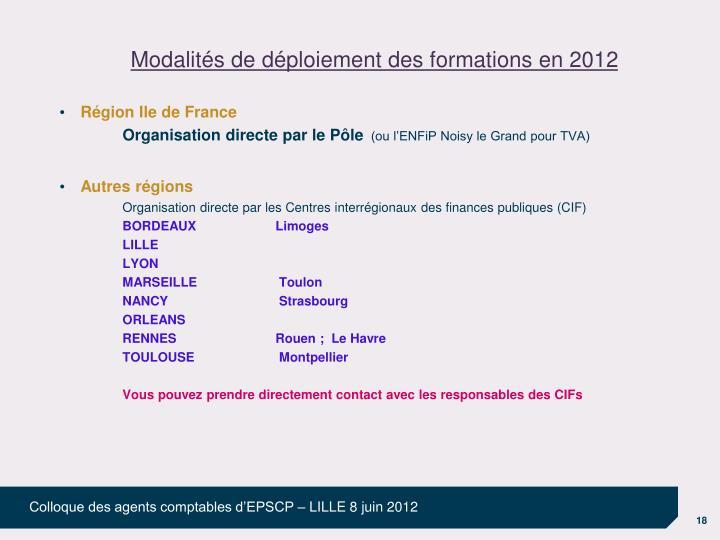 Modalités de déploiement des formations en 2012
