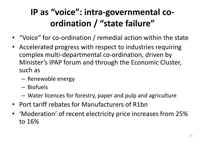 "IP as ""voice"": intra-governmental co-ordination / ""state failure"""