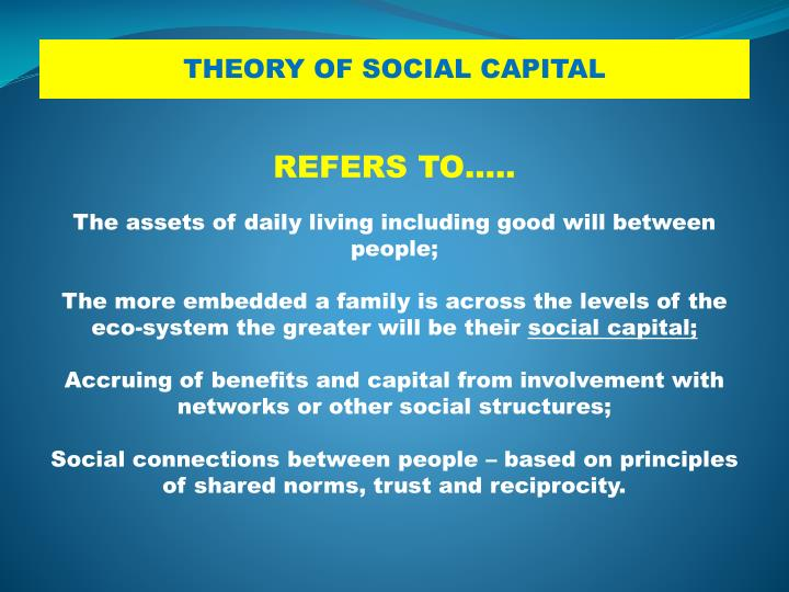 THEORY OF SOCIAL CAPITAL