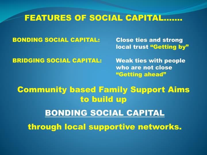 FEATURES OF SOCIAL CAPITAL…….