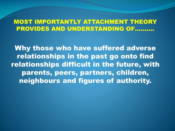 MOST IMPORTANTLY ATTACHMENT THEORY PROVIDES AND UNDERSTANDING OF……….