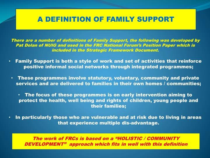 A DEFINITION OF FAMILY SUPPORT