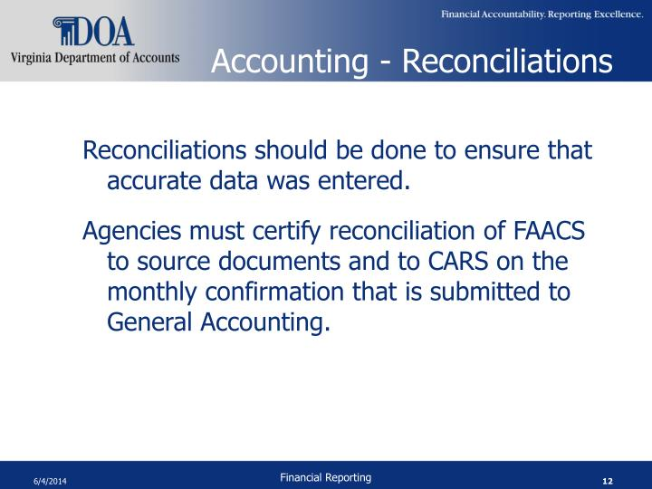 Accounting - Reconciliations