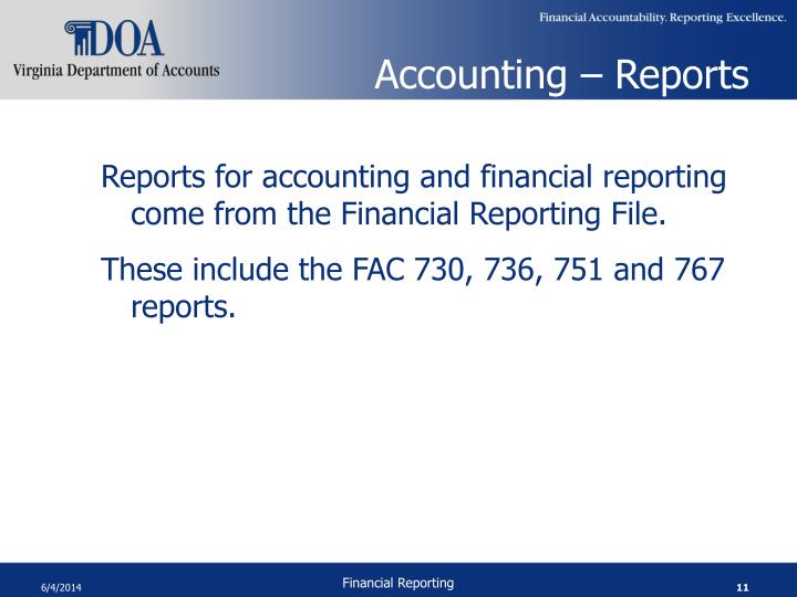 Accounting – Reports