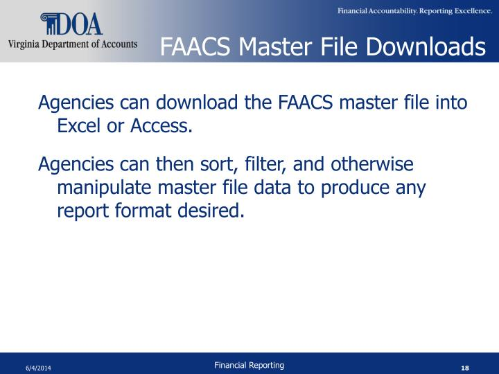 FAACS Master File Downloads