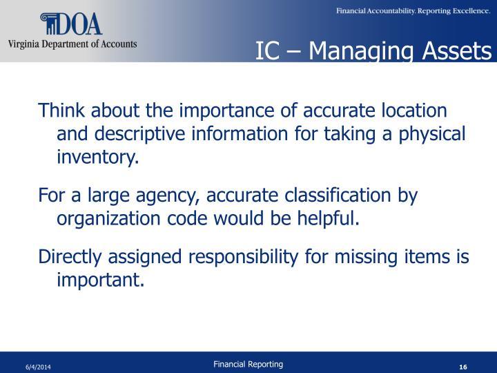 IC – Managing Assets