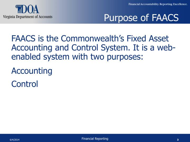 Purpose of FAACS