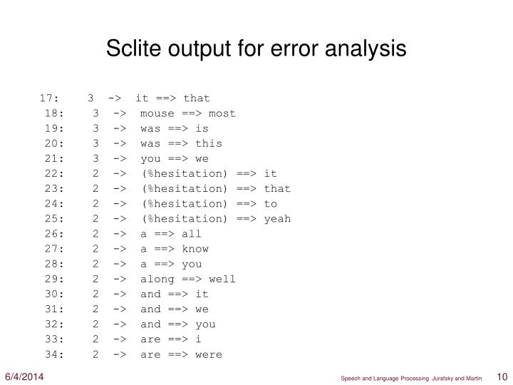 Sclite output for error analysis