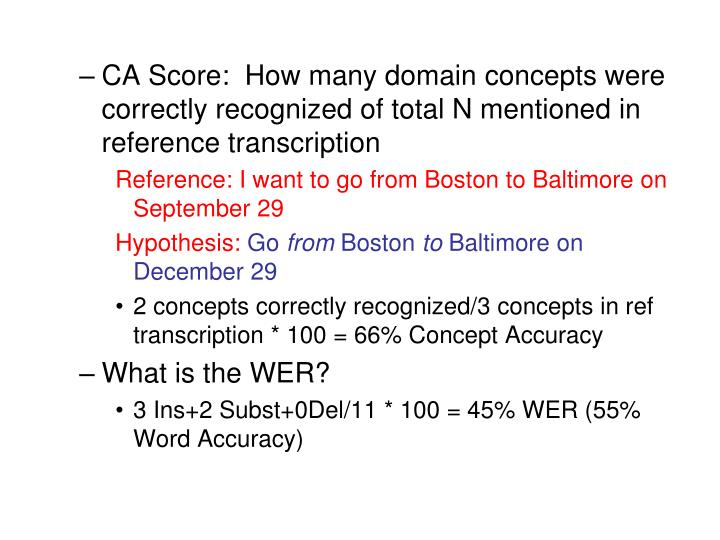 CA Score:  How many domain concepts were correctly recognized of total N mentioned in reference transcription