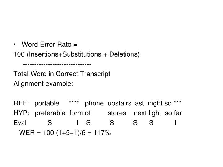 Word Error Rate =