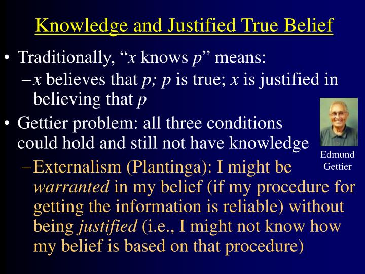 Knowledge and justified true belief