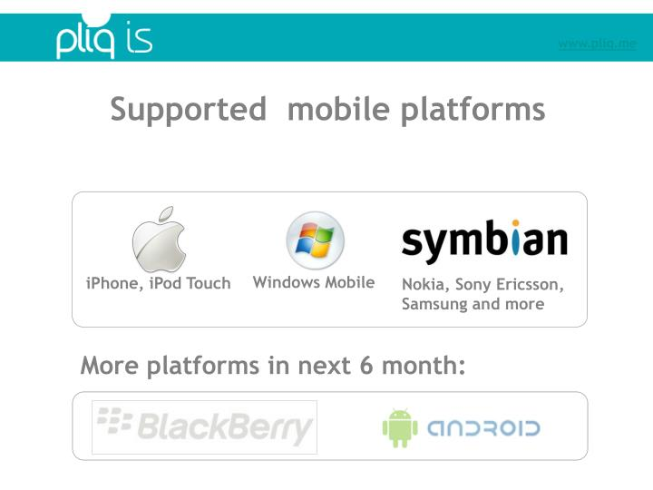 Supported  mobile platforms