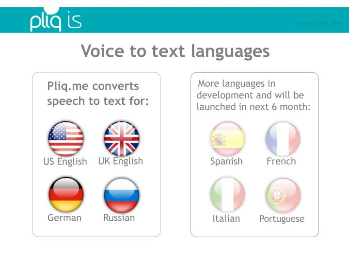 Voice to text languages