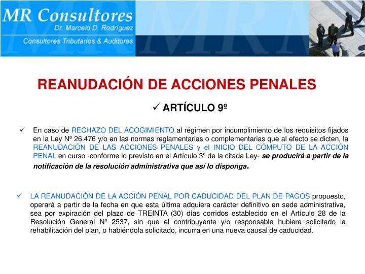 REANUDACIÓN DE ACCIONES PENALES