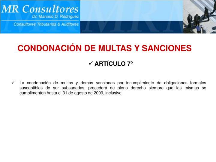 CONDONACIÓN DE MULTAS Y SANCIONES