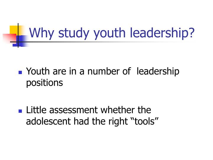 Why study youth leadership?