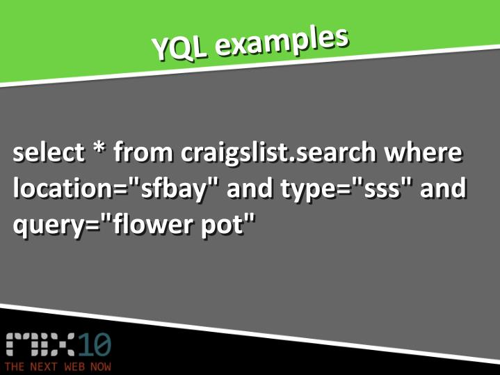 YQL examples