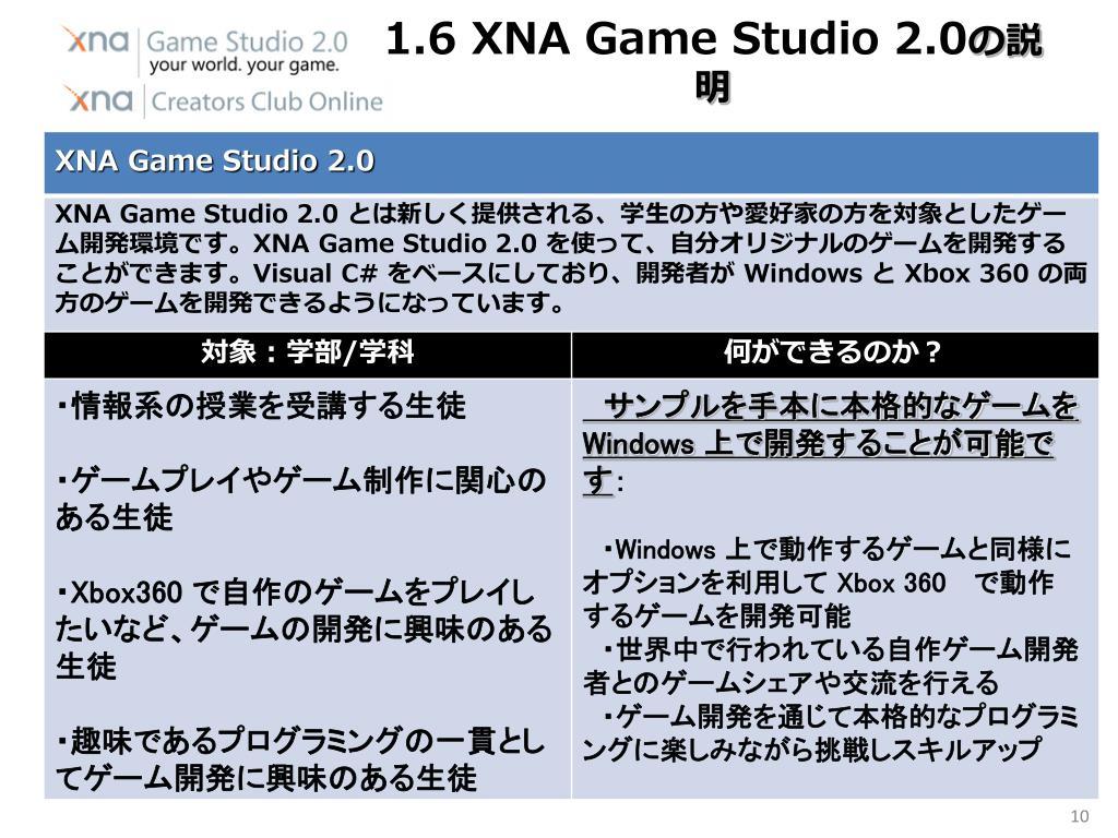 1.6 XNA Game Studio 2.0