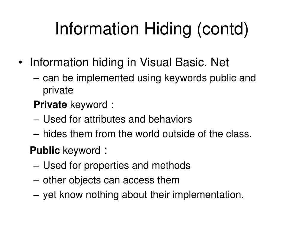 Information Hiding (contd)