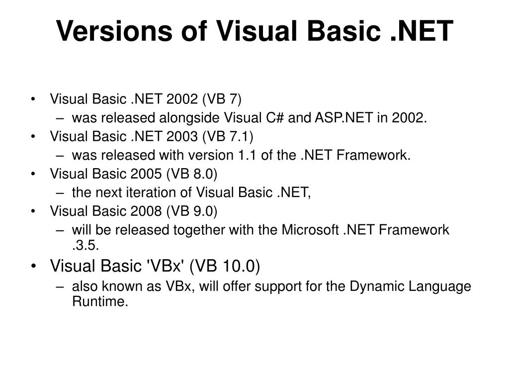 Versions of Visual Basic .NET