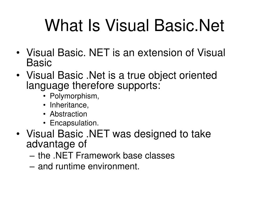 What Is Visual Basic.Net