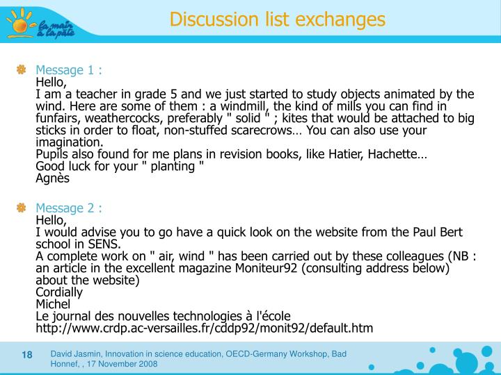 Discussion list exchanges