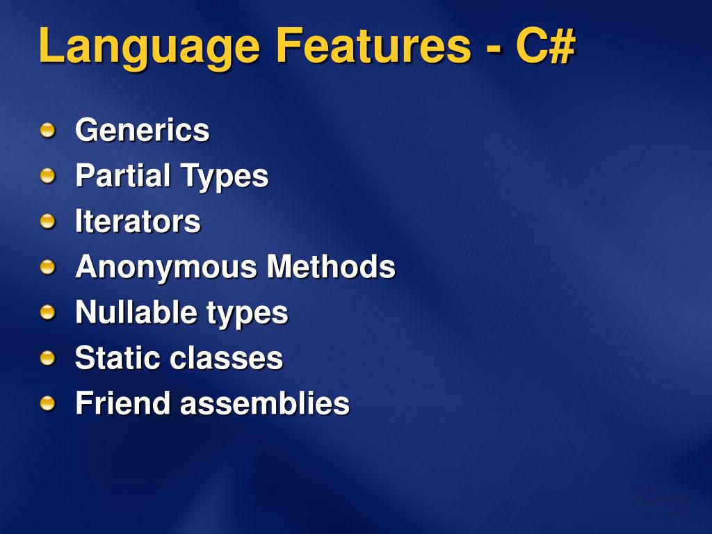 Language Features - C#