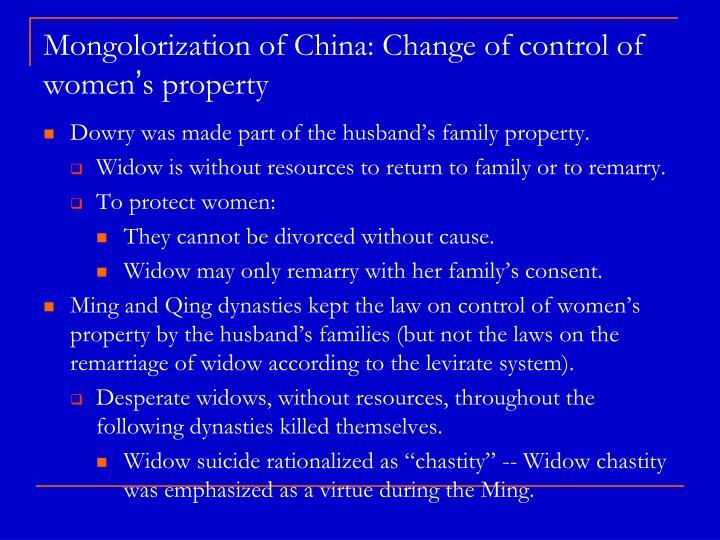 Mongolorization of China: Change of control of women