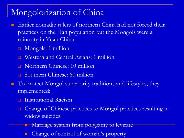 Mongolorization of china