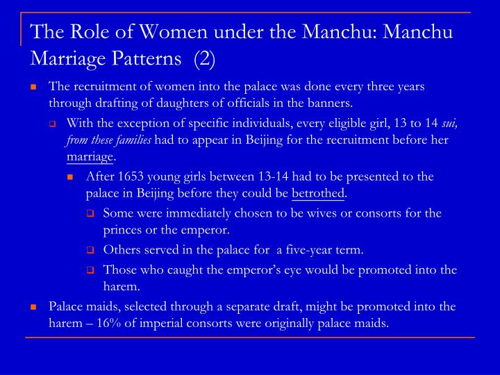 The Role of Women under the Manchu: Manchu Marriage Patterns  (2)
