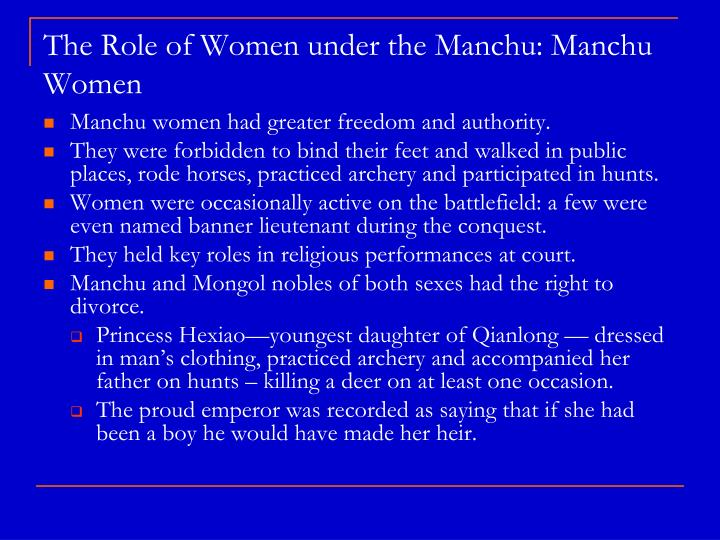 The Role of Women under the Manchu: Manchu Women