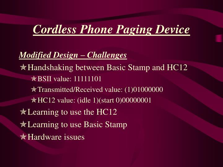 Cordless Phone Paging Device