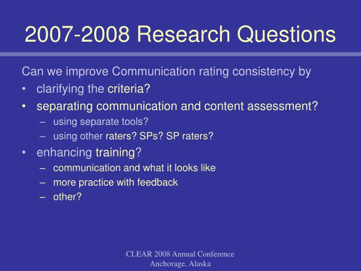 2007-2008 Research Questions