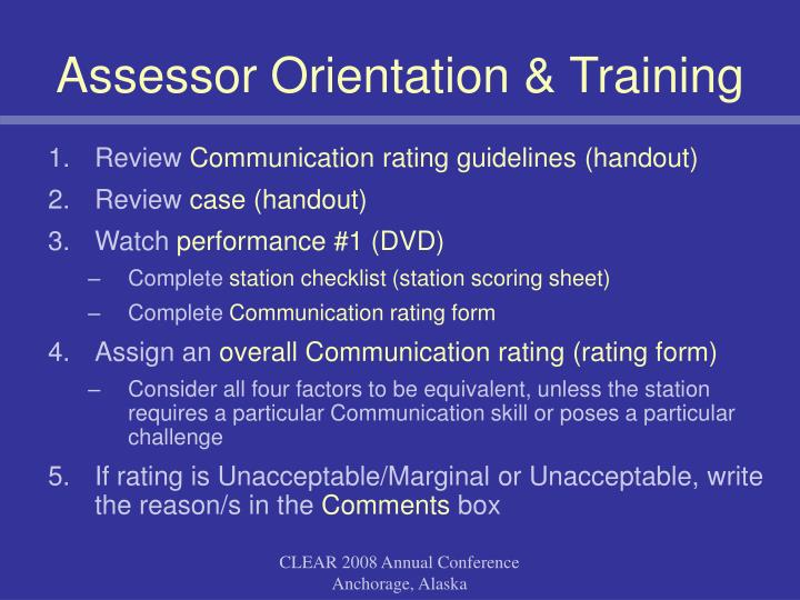 Assessor Orientation & Training