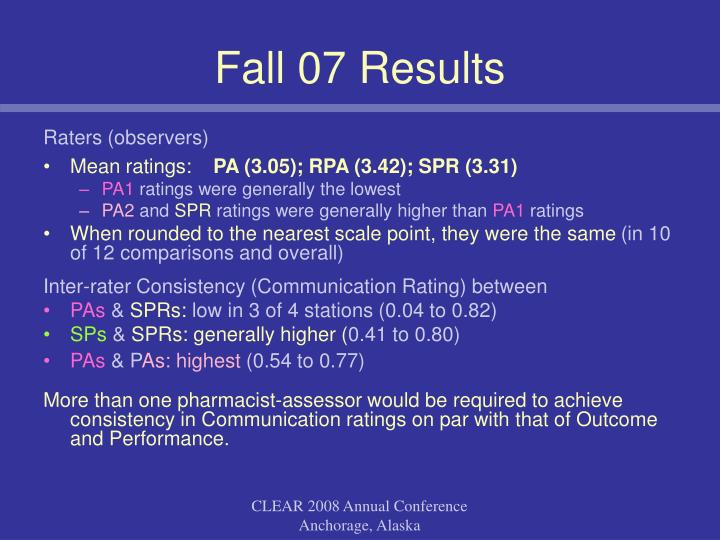 Fall 07 Results