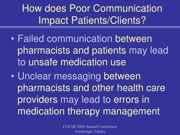 How does Poor Communication Impact Patients/Clients?