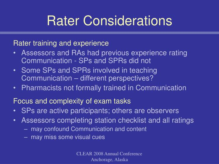 Rater training and experience