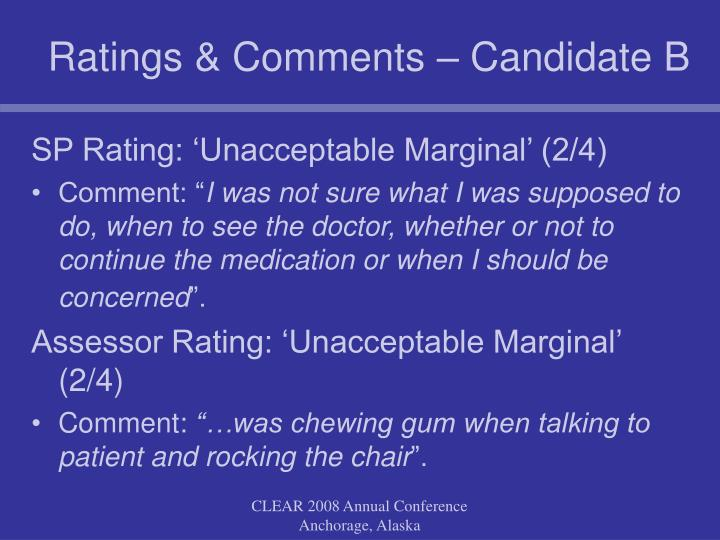 Ratings & Comments – Candidate B