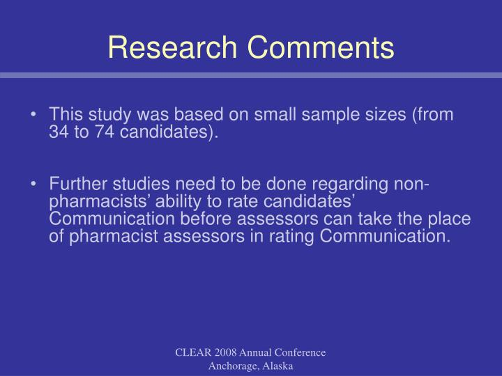Research Comments