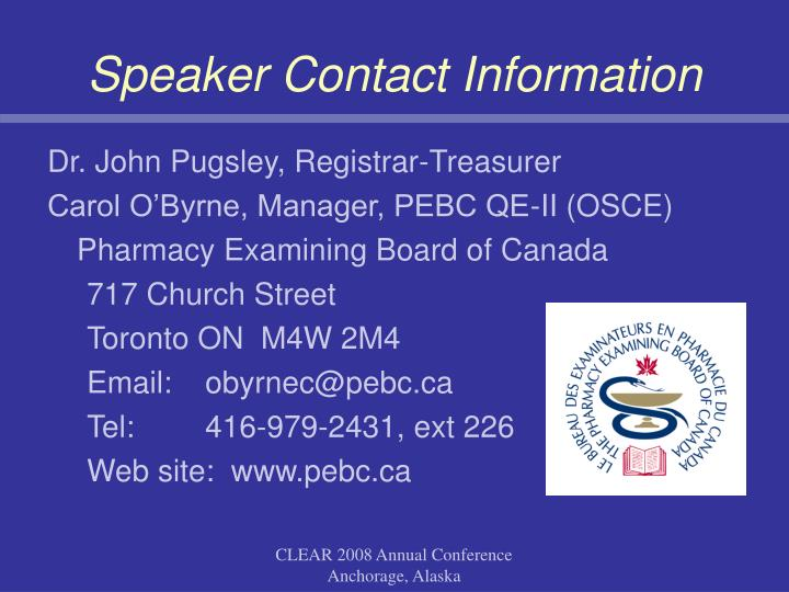 Speaker Contact Information