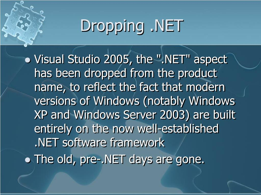 Dropping .NET
