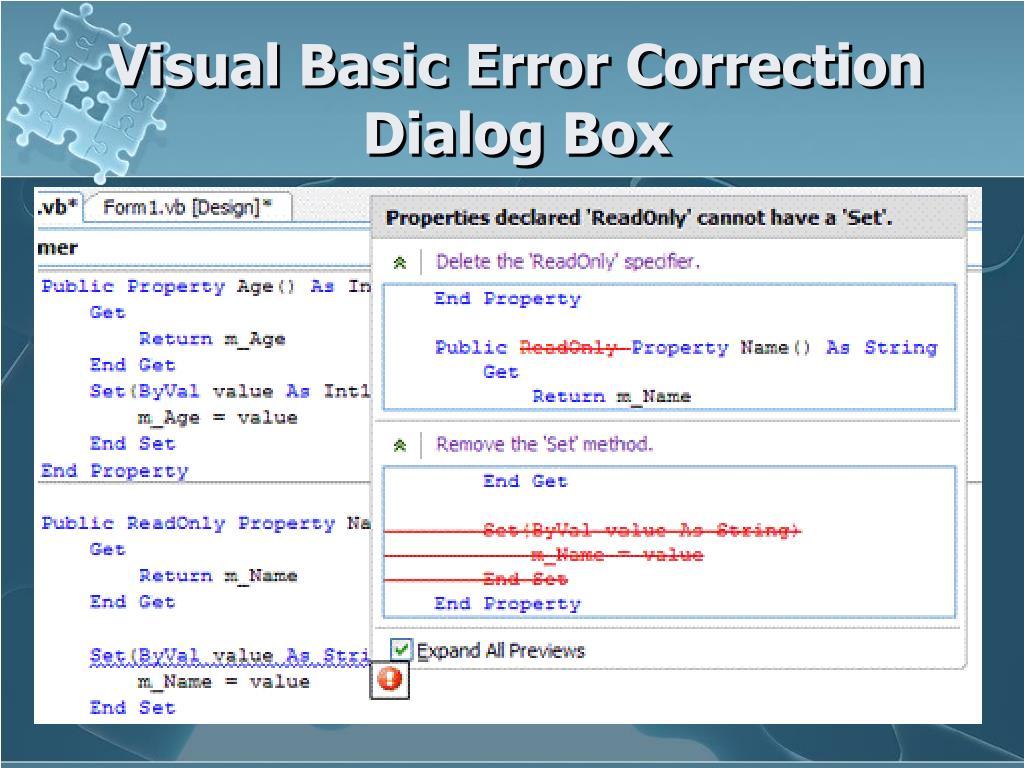 Visual Basic Error Correction Dialog Box