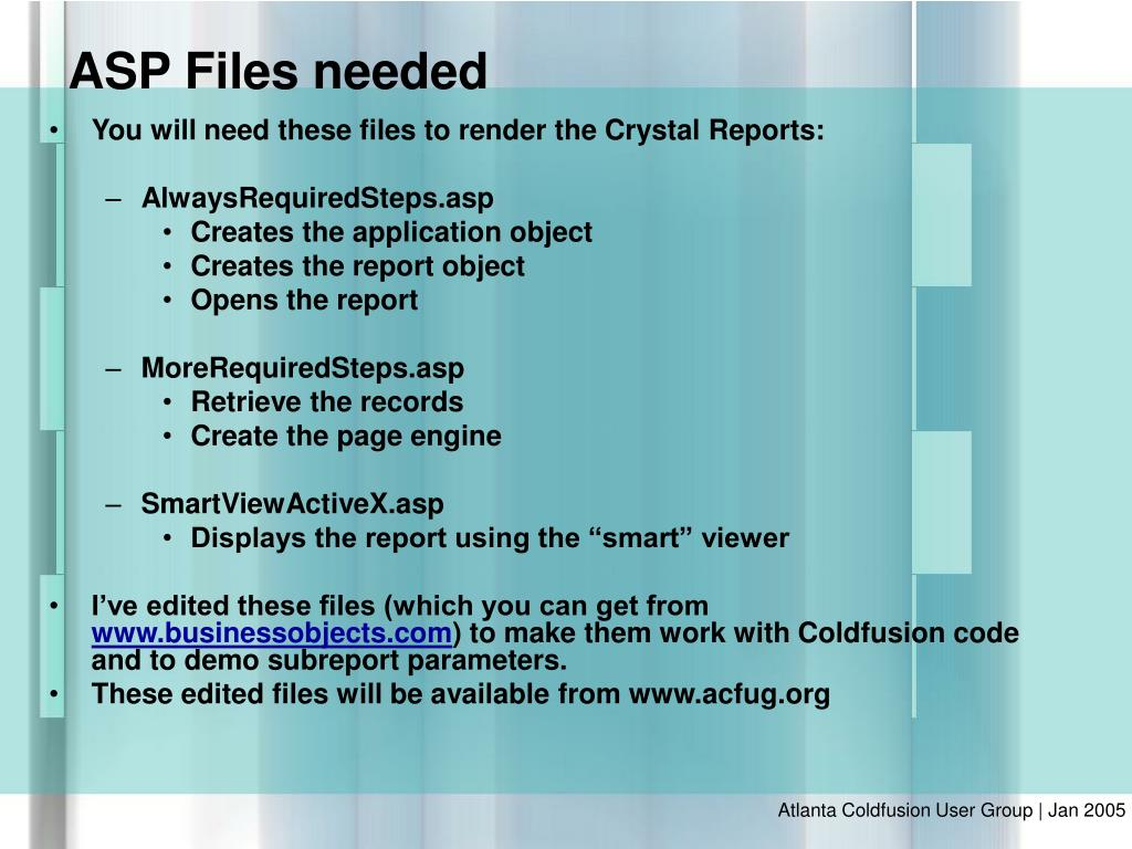 You will need these files to render the Crystal Reports: