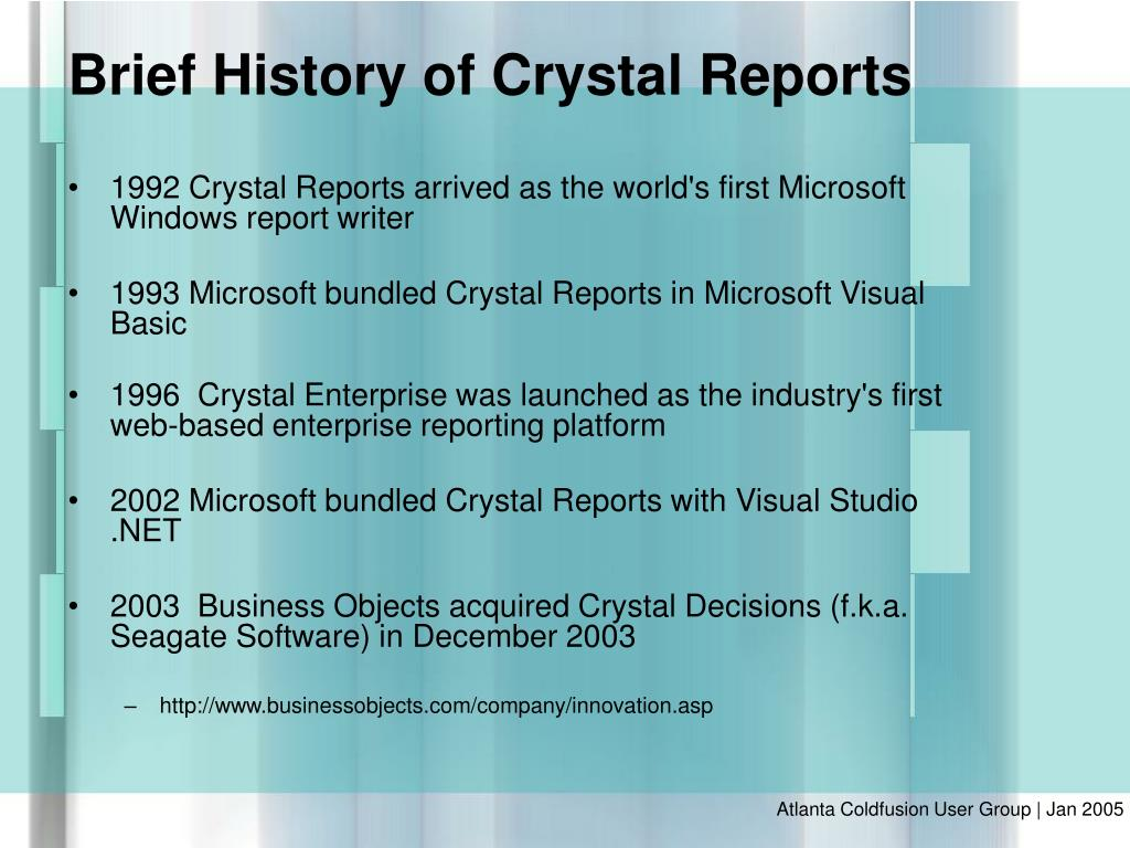 1992 Crystal Reports arrived as the world's first Microsoft Windows report writer