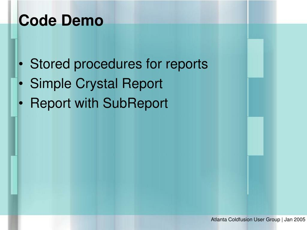 Stored procedures for reports