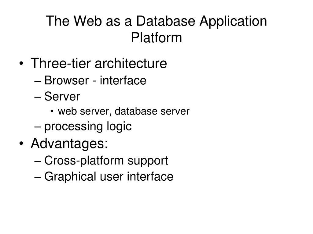 The Web as a Database Application Platform