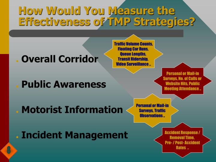 How Would You Measure the Effectiveness of TMP Strategies?