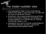 the insider outsider view